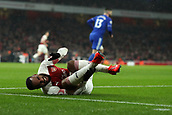 29th January 2019, Emirates Stadium, London, England; EPL Premier League Football, Arsenal versus Cardiff City; Alexandre Lacazette of Arsenal goes down appealing for a penalty from a challenge by Bruno Ecuele Manga of Cardiff City