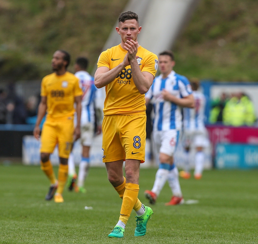 Preston North End's Alan Browne applauds the travelling supporters after the final whistle<br /> <br /> Photographer Alex Dodd/CameraSport<br /> <br /> The EFL Sky Bet Championship - Huddersfield Town v Preston North End - Friday 14th April 2016 - The John Smith's Stadium - Huddersfield<br /> <br /> World Copyright &copy; 2017 CameraSport. All rights reserved. 43 Linden Ave. Countesthorpe. Leicester. England. LE8 5PG - Tel: +44 (0) 116 277 4147 - admin@camerasport.com - www.camerasport.com
