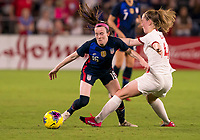 5th March 2020, Orlando, Florida, USA;  the United States midfielder Rose Lavelle (16) is challenged by Walsh of England  during the Women's SheBelieves Cup soccer match between the USA and England on March 5, 2020 at Exploria Stadium in Orlando, FL.