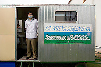 South America, Argentina, Buenos Aires, Los Olmos, Evangelism - Pablo and his wife offer a mobile dental clinic for the low-income population of the Buenos Aires area. Their clinic not only offers good health, but also helps them evangelize, July 2006, &copy;Stephen Blake Farrington<br />