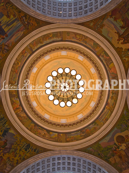 The rotunda of the Utah State Capitol building depicts passages in paintings of the history of the state.