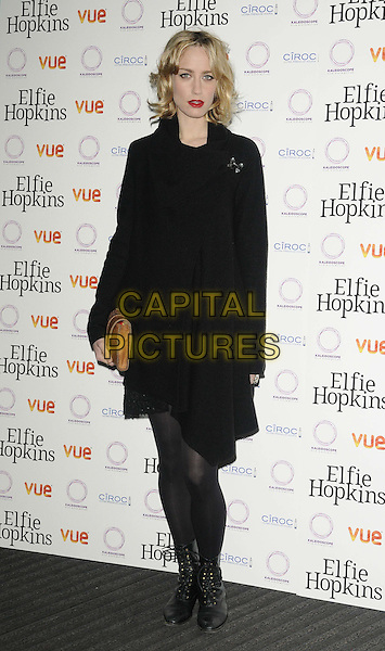 Ruta Gedmintas.'Elfie Hopkins' World premiere, Vue Cinema, London, England..April 16th, 2012.full length black coat jacket tights boots  .CAP/CAN.©Can Nguyen/Capital Pictures.
