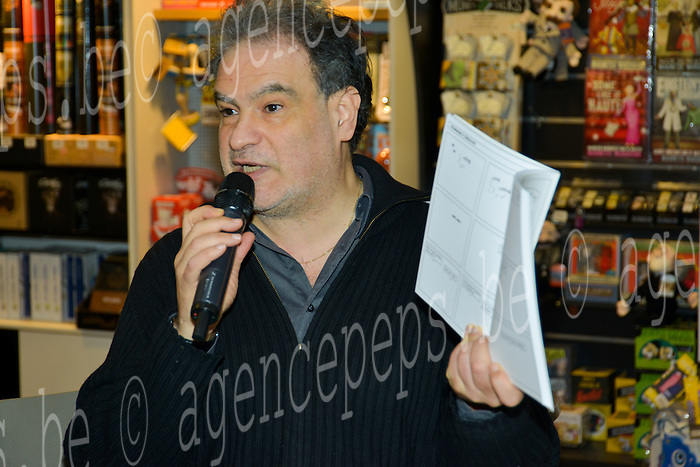 """Raphael Mezrahi during the autograph session at the Bookstore Filigrane Brussels for the release of his new book """"The band draw"""". Brussels, 29 January 2016, Belgium"""