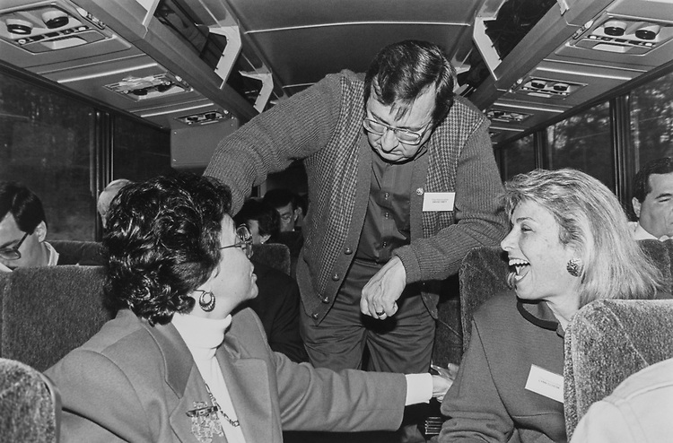 En route to the Democratic Issues Conference, Rep. Nita Lowey, D-N.Y., Rep. Dave Obey, D-Wis., and Rep. Lynn Schenk, D-Calif., on Jan. 29, 1993. (Photo by CQ Roll Call)