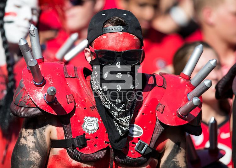 ATHENS, GEORGIA - September 19, 2015: University of Georgia Bulldogs vs University of South Carolina Gamecocks at Sanford Stadium.  Final score, Georgia 52, South Carolina 20.