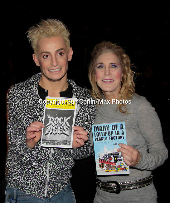 Ilene Zatkin-Butler won a walk on role on Broadway's Rock of Ages starring Big Brother's Frankie J. Grande (brother of Ariana Grande) at the Helen Hayes Theatre, NYC, NY on December 17, 2014 while attending The Jane Elissa Extravaganza 2014 - 19 years - benefiting the Jane Elissa/Charlotte Meyer Endowment Fund which raises revenue that directly supports the research  of the Leukemia/Lymphoma Society. The grant goes to an individual researcher. (Photo by Sue Coflin/Max Photos)