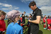 Simon Child signs autographs. International Hockey, Blacksticks Men v Japan, TET Multisport Centre, Stratford, New Zealand. Saturday 12 October 2019. Photo: Simon Watts/www.bwmedia.co.nz/HockeyNZ