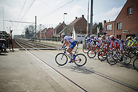 after being stopped (for a passing train), the peloton is able to cross the railway tracks<br /> <br /> 103rd Scheldeprijs 2015