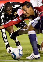 LA Galaxy goalkeeper Donovan Ricketts moves to the ball to make another save. The LA Galaxy defeated Chivas USA 2-0 during the Super Clasico at Home Depot Center stadium in Carson, California Thursday evening April 1, 2010.  .