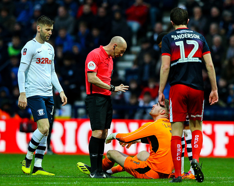 Referee Andy Davies has a word with Doncaster Rovers' Ian Lawlor<br /> <br /> Photographer Alex Dodd/CameraSport<br /> <br /> The Emirates FA Cup Third Round - Preston North End v Doncaster Rovers - Sunday 6th January 2019 - Deepdale Stadium - Preston<br />  <br /> World Copyright © 2019 CameraSport. All rights reserved. 43 Linden Ave. Countesthorpe. Leicester. England. LE8 5PG - Tel: +44 (0) 116 277 4147 - admin@camerasport.com - www.camerasport.com