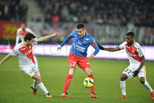 04.03.2016. Caen, France. French League 1 football. Caen versus Monaco.  THOMAS LEMAR (mon) and BERNARDO SILVA (mon)challenge JULIEN FERET (caen)