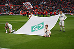 17.03.2019, BayArena, Leverkusen, GER, 1. FBL, Bayer 04 Leverkusen vs. SV Werder Bremen,<br />  <br /> DFL regulations prohibit any use of photographs as image sequences and/or quasi-video<br /> <br /> im Bild / picture shows: <br /> Banner auf dem Spielfeld <br /> <br /> Foto © nordphoto / Meuter