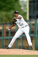 Lakeland Flying Tigers pitcher Edgar De La Rosa (59) during a game against the Tampa Yankees on April 3, 2014 at Joker Marchant Stadium in Lakeland, Florida.  Tampa defeated Lakeland 4-0.  (Mike Janes/Four Seam Images)