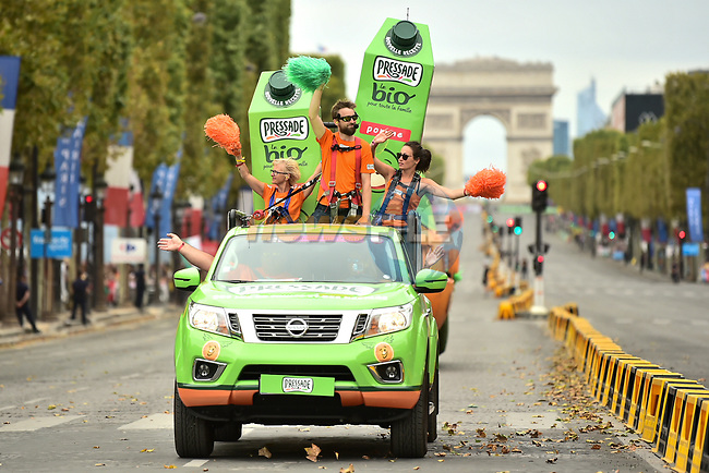 The publicity caravan on the Champs-Elysees during Stage 21 of the 2018 Tour de France running 116km from Houilles to Paris Champs-Elysees, France. 29th July 2018. <br /> Picture: ASO/Pauline Ballet | Cyclefile<br /> All photos usage must carry mandatory copyright credit (&copy; Cyclefile | ASO/Pauline Ballet)