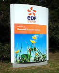 EDF Energy welcome sign at Sizewell B nuclear power station, Suffolk, England