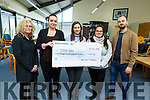 "Students from Tourism and Event Management at I T Tralee present a cheque to Jigsaw Kerry from their recent fundraiser ""Back to the 90's"" at the I T on Monday.  <br /> Patricia Relihan, Cornelia Dumrtiu, Triona Casey (Jigsaw), Madison Shank and Fergus Dunne (Lecturer of Tourism and Event Management)."