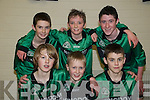 Community Games U/15 Soccer: The Spa/Fenit/Barrow team who winners  in the Final of the Qualifying rounds at St Senan's Sports Hall in Muntcoal, Listowel on Sunday last. Front: Fionn Griffin, Gordon Burrows & Fiachra Griffin. Back: Kevin Devane,Matt Finnerty & Mitchell Holland.