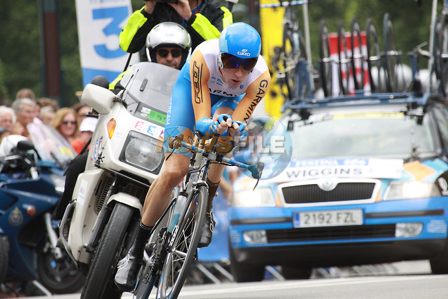 Bradley Wiggins starts the last time trial stage of the 2009 Tour de France at Annecy, 23rd July 2009 (Photo by Manus OReilly/NEWSFILE)