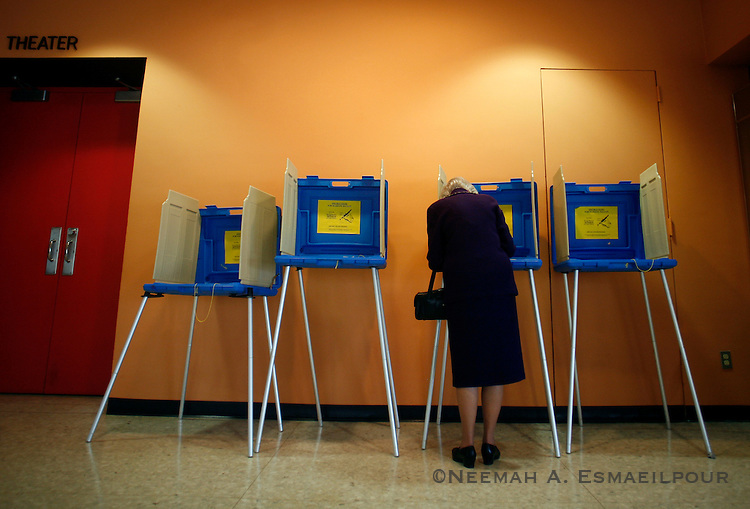 Holly Trantham casts her vote during the presidential primary on Super Tuesday, Feb 05, 2008 in Little Rock, Arkansas.