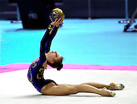 02 OCTOBER 1999 - OSAKA, JAPAN: Yulia Raskina of Belarus performs with ball at the 1999 World Championships in Osaka, Japan. Yulia took silver medal in the women's All Around earlier.