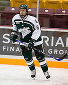 Brandon Gentile (Michigan State - Clarkston, MI) warms up. The University of Minnesota Golden Gophers defeated the Michigan State University Spartans 5-4 on Friday, November 24, 2006 at Mariucci Arena in Minneapolis, Minnesota, as part of the College Hockey Showcase.