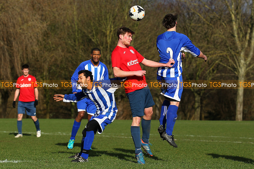 Forest Athletic (blue/white) vs Birkbeck Orient A, Hackney & Leyton Sunday League Football at Hackney Marshes, Hackney, England on 07/02/2016