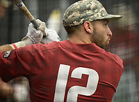 NWA Democrat-Gazette/ANDY SHUPE<br /> Arkansas catcher Casey Opitz takes batting practice Friday, June 7, 2019, during practice in The Fowler Family Baseball and Track Training Center ahead of today's NCAA Super Regional game at Baum-Walker Stadium in Fayetteville. Visit nwadg.com/photos to see more photographs from the practices.