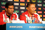 ENG - Newcastle upon Tyne, England, October 08: During the Media Conference at the Captains Run of Tonga on October 8, 2015 at St. James Park in Newcastle upon Tyne, England. (Photo by Dirk Markgraf / www.265-images.com) *** Local caption *** (L-R) Siale Piutau, Mana 'Otai