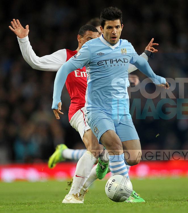 Manchester Citys Sergio Aguero in action.