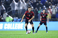 CARY, NC - DECEMBER 13: Keegan Hughes #5 of Stanford University plays the ball during a game between Stanford and Georgetown at Sahlen's Stadium at WakeMed Soccer Park on December 13, 2019 in Cary, North Carolina.
