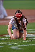 Lansing Lugnuts fan during an on field promotion during a Midwest League game against the Burlington Bees on July 18, 2019 at Cooley Law School Stadium in Lansing, Michigan.  Lansing defeated Burlington 5-4.  (Mike Janes/Four Seam Images)