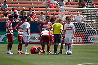 FC Dallas midfielder Pablo Ricchetti (6) remains on the field in pain following a collision with Chicago Fire  midfielder Blanco (10). Chicago Fire vs FC Dallas at Pizza Hut Park Frisco, Texas June-15-2008.  FC Dallas 1, Chicago 0.