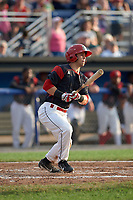 Batavia Muckdogs right fielder Harrison White (40) at bat during a game against the Tri-City ValleyCats on July 14, 2017 at Dwyer Stadium in Batavia, New York.  Batavia defeated Tri-City 8-4.  (Mike Janes/Four Seam Images)
