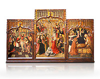 Gothic Catalan altarpiece of, left to right, the martydom of St Bartholomew, Calvaty and the deat of St Mary Magdelene, by Jaume Huguet, Barcelona circa 11465-1480, tempera and gold leaf on for wood, from the church of San Marti de Petegas de san Seloni, Valle Oriental, Spain.  National Museum of Catalan Art, Barcelona, Spain, inv no: MNAC   24365. Against a white background.