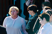 Tuesday 11 March 2014<br /> Pictured: Distressed mum Sharon John (L) is comforted by friends as she leaves after the service<br /> Re: A funeral has taken place  in Pontyberem Catholic Church for six day old Eliza-Mae Mullane who died after an incident at the family home in Carmarthenshire in the morning of 18 February 2014, where police later seized two dogs, an Alaskan Malamute called Nisha and a collie cross that were destroyed following the baby girl's death.<br /> Parents Sharon John and Patrick Mullane said previously that they would cherish the short time they had with her.