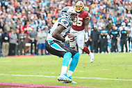 Landover, MD - October 14, 2018: Carolina Panthers wide receiver Torrey Smith (11) catches a touchdown during the  game between Carolina Panthers and Washington Redskins at FedEx Field in Landover, MD.   (Photo by Elliott Brown/Media Images International)