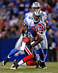 28 August 2008:  Buffalo Bills' wide receiver Felton Huggins is tackled by Detroit Lions cornerback LaMarcus Hicks at Ralph Wilson Stadium in Orchard Park, NY. The Lions defeated the Bills 14-6 in their fourth and final pre-season game...Mandatory Photo Credit: Ed Wolfstein Photo