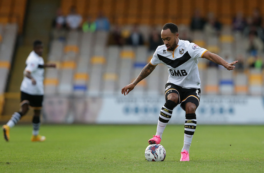 Port Vale's Byron Moore<br /> <br /> Photographer Stephen White/CameraSport<br /> <br /> Football - Capital One Cup First Round - Port Vale v Burnley - Tuesday 11th August 2015 - Vale Park<br />  <br /> &copy; CameraSport - 43 Linden Ave. Countesthorpe. Leicester. England. LE8 5PG - Tel: +44 (0) 116 277 4147 - admin@camerasport.com - www.camerasport.com
