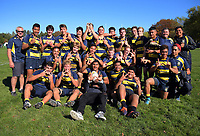 The Wairarapa College team pose for a group photo after the Transit Coachlines 1st XV Festival rugby union match between Wairarapa College and Tawa College at Rathkeale College in Masterton, New Zealand on Saturday, 4 May 2019. Photo: Dave Lintott / lintottphoto.co.nz