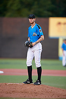 Hudson Valley Renegades starting pitcher Easton McGee (31) gets ready to deliver a pitch during a game against the Tri-City ValleyCats on August 24, 2018 at Dutchess Stadium in Wappingers Falls, New York.  Hudson Valley defeated Tri-City 4-0.  (Mike Janes/Four Seam Images)