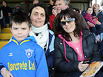 Ardee Celtic fans Olive and Oisín O'Brien and Rita Corrigan at the Drogheda and District schoolboys cup finals in Hunky Dorys park. Photo: Colin Bell/pressphotos.ie