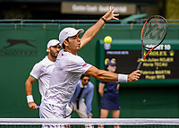 London, England, 5 July, 2019, Tennis,  Wimbledon, Men's doubles: Jean-Julien Rojer (NED) and Horia Tecau  (ROU) (L)<br /> Photo: Henk Koster/tennisimages.com