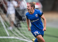 Seattle, WA - Saturday Aug. 27, 2016: Manon Melis celebrates scoring during a regular season National Women's Soccer League (NWSL) match between the Seattle Reign FC and the Portland Thorns FC at Memorial Stadium.