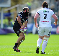 Kane Palma-Newport of Bath Rugby looks to pass the ball. European Rugby Challenge Cup Quarter Final, between Bath Rugby and CA Brive on April 1, 2017 at the Recreation Ground in Bath, England. Photo by: Patrick Khachfe / Onside Images