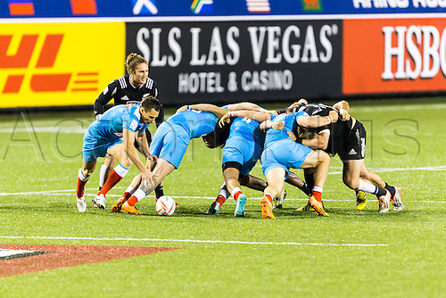 04.03.2016. Las Vegas, Nevada, USA.  Russia wins a scrum as Gillies Kaka (#8) of New Zealand looks on during the Pool A match between New Zealand and Russia at the USA Sevens held March 4-6, 2016 at Sam Boyd Stadium in Las Vegas NV. Final score NZ 38, Russia 0.