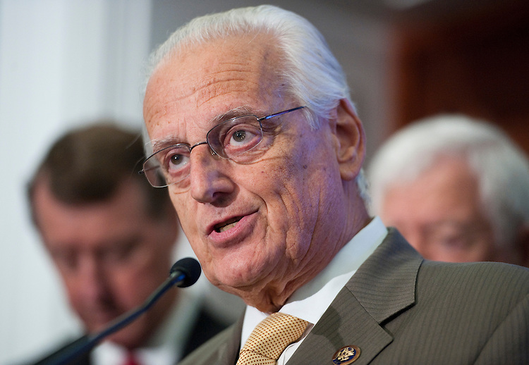 UNITED STATES - JULY 14: Rep. Bill Pascrell, D-N.J., speaks during a media event with fellow House Democrats in the Capitol on Wednesday, July 14, 2010, to call on Republicans to approve the unemployment insurance extension. (Photo By Bill Clark/Roll Call via Getty Images)