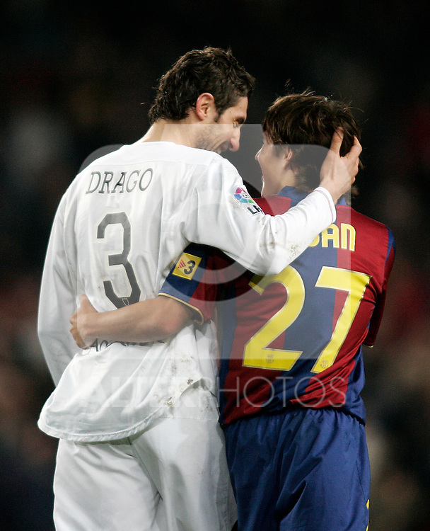 Sevilla's Ivica Dragutinovic (l) and FC Barcelona's Bojan Krkic (r) after the Spanish King's Cup match between FC Barcelona and Sevilla at Nou Camp Stadium in Barcelona, January 15 2008. (ALTERPHOTOS/Acero).