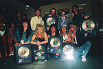 Great White receiving Gold Record. Tony Montana, Michael Lardie, Audie Desbrow, Jack Russell, Mark Kendall
