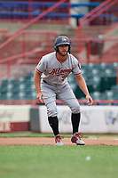 Altoona Curve Logan Hill (23) leads off first base during an Eastern League game against the Erie SeaWolves on June 5, 2019 at UPMC Park in Erie, Pennsylvania.  Altoona defeated Erie 6-2.  (Mike Janes/Four Seam Images)
