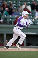 Designated hitter Anthony Fontana (44) of the Furman Paladins bats in a game against the South Carolina Gamecocks on Tuesday, March 19, 2019, at Fluor Field at the West End in Greenville, South Carolina. South Carolina won, 12-7. (Tom Priddy/Four Seam Images)